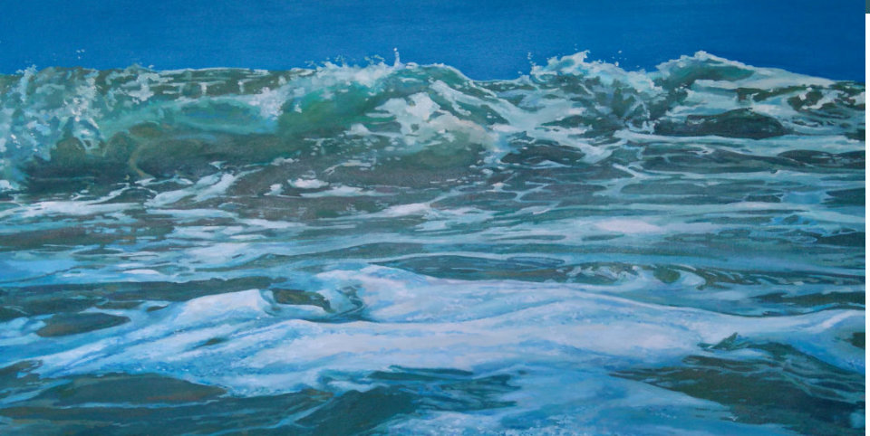 oil painting of a breaking wave by irish artist elaine conneely