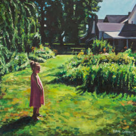 Thoughtful child in a garden painting